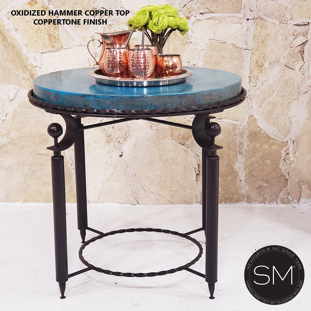 Side tables Hammer Copper ,Ocassional & side tables-Mexports By Susana Molina-Mexports® Inc by Susana Molina