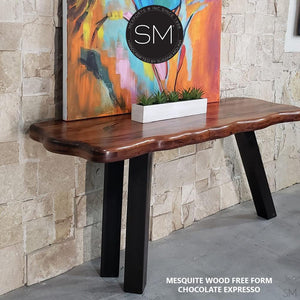 Live edge Mesquite Wood Contemporary Console , entryway table. - Mexports® Inc by Susana Molina