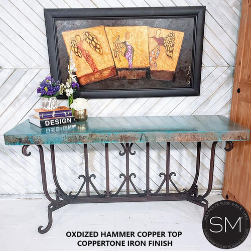 Long Entryway Hammer Copper Console table, Vintage iron - Mexports® Inc by Susana Molina