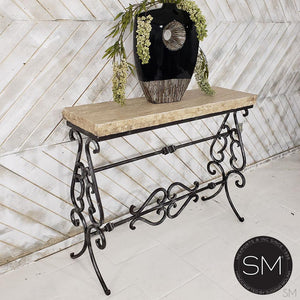 Luxurious Entryway table- Travertine narrow Console-ideal for Outdoors-Mexports By Susana Molina -Mexports® Inc by Susana Molina