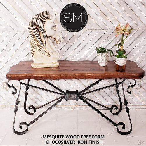 large_console_mesquite_wood_scollaped_top_chocosilver_iron_finish_model_1211_C- Mexports® Inc by Susana Molina