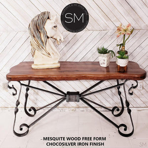 Console Table Modern Treat-Extra w/ Mesquite Wood Top Wrought Iron Base-Mexports By Susana Molina -Mexports® Inc by Susana Molina