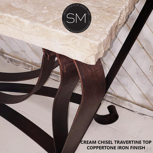 Luxury Console Table - One of a Kind Travertine Stone Entryway Table - Mexports® Inc by Susana Molina