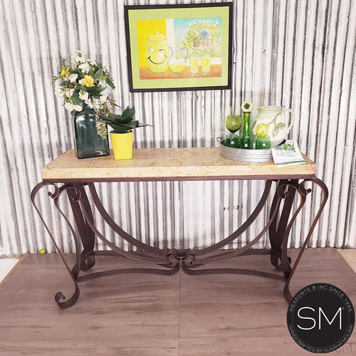 Luxury Console Table - One of a Kind Travertine Stone Entryway Table-Mexports By Susana Molina -Mexports® Inc by Susana Molina