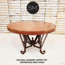 Luxury Dining Table | Round | Oxidized Hammered Copper Top-Mexports By Susana Molina -Mexports® Inc by Susana Molina