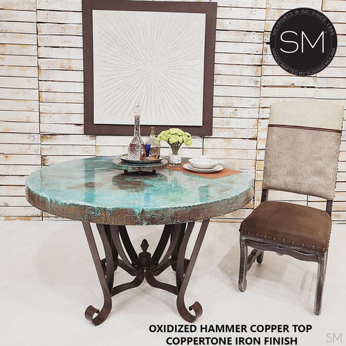 Luxury Dining Table | Round | Oxidized Hammered Copper Top, Wrought Iron Base-Round Dining Table-Mexports By Susana Molina -48
