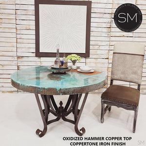 "Luxury Dining Table | Round | Oxidized Hammered Copper Top, Wrought Iron Base-Round Dining Table-Mexports By Susana Molina -48""Rd-Natural Copper-Dark Rust Brown-Mexports® Inc by Susana Molina"