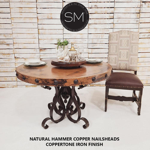 Luxury Hammer Copper Round Dining Table-Designed to stand out-Hammer Copper table-Mexports By Susana Molina-48