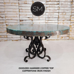 "Luxury Hammer Copper Round Dining Table-Designed to stand out-Hammer Copper table-Mexports By Susana Molina-48""Rd-Oxidized Copper-Coppertone-Mexports® Inc by Susana Molina"