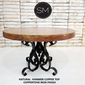 "Luxury Hammer Copper Round Dining Table-Designed to stand out-Hammer Copper table-Mexports By Susana Molina-48""Rd-Natural Copper-Dark Rust Brown-Mexports® Inc by Susana Molina"