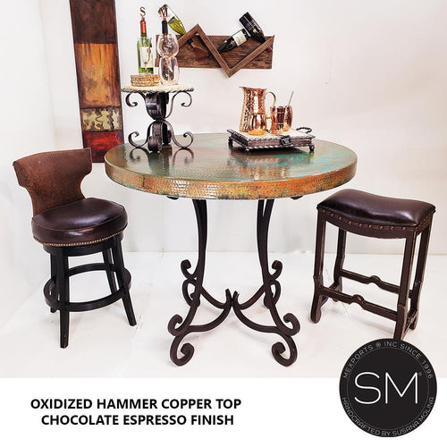 Luxury modern Furniture -Handcrafted Furniture - Pub Table Natural Hammer Copper Top -Handcrafted Wrought Iron Legs - Mexports® Inc by Susana Molina