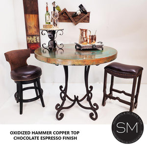 Luxury Furniture- Pub Table Natural Hammer Copper Top,-Mexports By Susana Molina -Mexports® Inc by Susana Molina