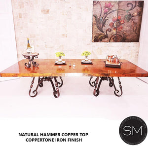 Best Vintage Iron Table Adorbs Hammer Copper Top Coppertone Iron Finish-Rectangular Dining table-Mexports By Susana Molina-8'-Natural Copper-Dark Rust Brown-Mexports® Inc by Susana Molina