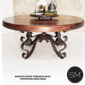 Luxury Ranch Mesquite Wood Round Coffee Table Model - Mexports® Inc by Susana Molina
