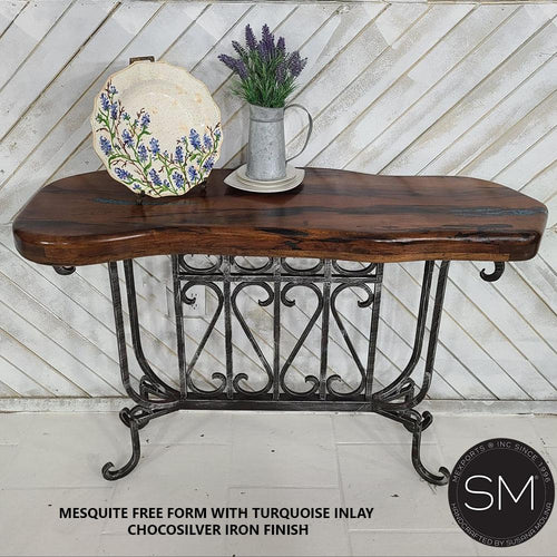 Stupendous Mesquite Wood Turquoise Inlay Entryway Table-Mexports By Susana Molina-Mexports® Inc by Susana Molina