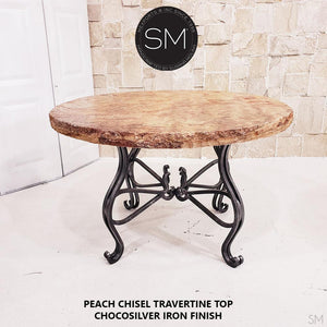 Peach Chisel Travertine - Luxury Round Dining Table | Travertine-Mexports By Susana Molina -Mexports® Inc by Susana Molina