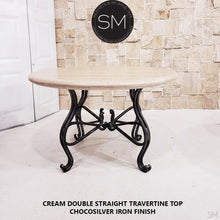 "Luxury Round Dining Table | Travertine | Wrought Iron-Round Dining table-Mexports By Susana Molina -48""-Peach Chiseled-Chocolate Espresso-Mexports® Inc by Susana Molina"
