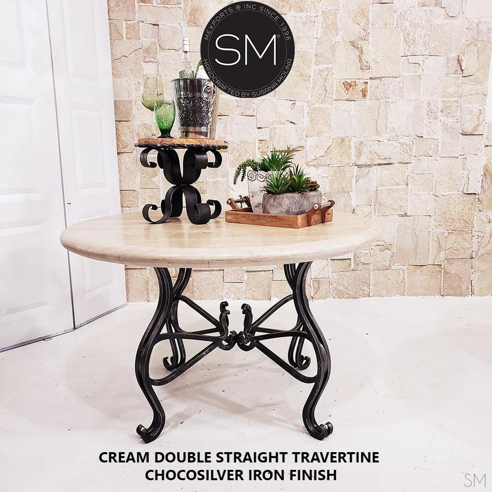 Luxury Round Dining Table | Travertine | Wrought Iron-Round Dining table-Mexports By Susana Molina -48