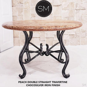 Peach Bullnose Travertine Top - Luxury Round Dining Table | Travertine-Mexports By Susana Molina -Mexports® Inc by Susana Molina