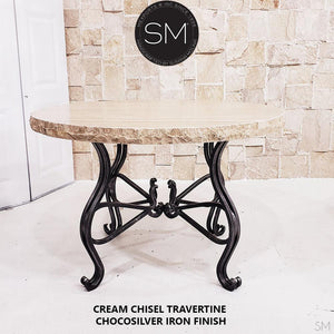 Cream Chisel Travertine - Luxury Round Dining Table | Travertine-Mexports By Susana Molina -Mexports® Inc by Susana Molina