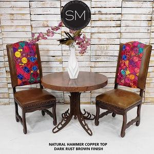 Luxury Side Table Round Brown Natural Hammer Copper Top-Mexports By Susana Molina-Mexports® Inc by Susana Molina