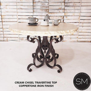 "Outdoor Marble Dining Table - Cream Travertine Top & Iron Pedestal-Travertine Dining tables-Mexports By Susana Molina -48""-Peach Chiseled-Chocolate Espresso-Mexports® Inc by Susana Molina"