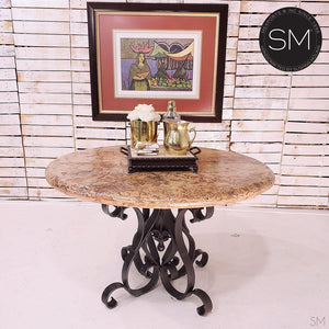 Marble Dining Table - Cream Travertine Top & Wrought Iron Pedestal - Mexports® Inc by Susana Molina