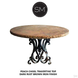 Marble Dining Table - Travertine Top & Wrought Iron Pedestal , Cream Travertine Chisel Edge 48' rd up to 60'rd - Mexports® Inc by Susana Molina