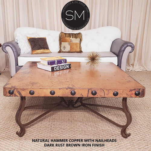 Mediterranean Hammer Copper Square Coffee Table-Mexports By Susana Molina-Mexports® Inc by Susana Molina