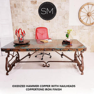 Mediterranean style Conference - Desk Hammer Copper top Wrought Iron Desk-Desks - Conference tables-Mexports By Susana Molina-6'-Natural Copper-Dark Rust Brown-Mexports® Inc by Susana Molina