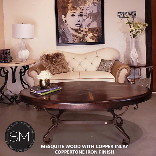 The best Mesquite Oval Coffee Table Premier quality-Oval coffee table-Mexports By Susana Molina-Copper-Dark Rust Brown-Mexports® Inc by Susana Molina