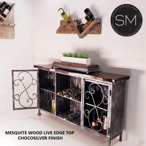 Mesquite Wood Buffet Cabinet Model 1230 - Mexports® Inc by Susana Molina