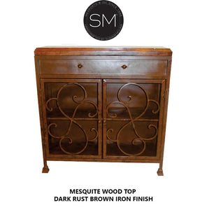 High end Western Solid Mesquite Wood Buffet Cabinet-Buffet cabinet-Mexports By Susana Molina -Dark Rust Brown-No Inlay-Mexports® Inc by Susana Molina