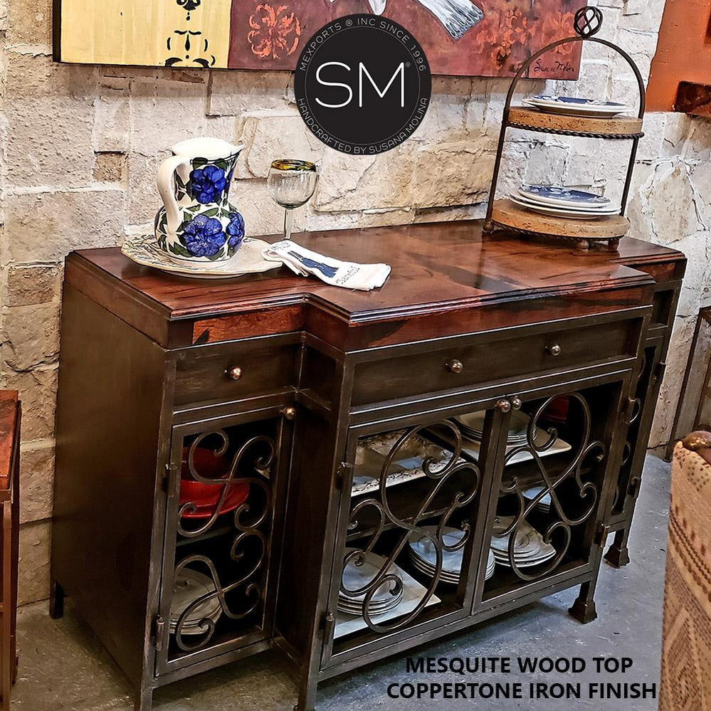 Mesquite Wood Buffet Cabinet Model 1235 B - Mexports® Inc by Susana Molina