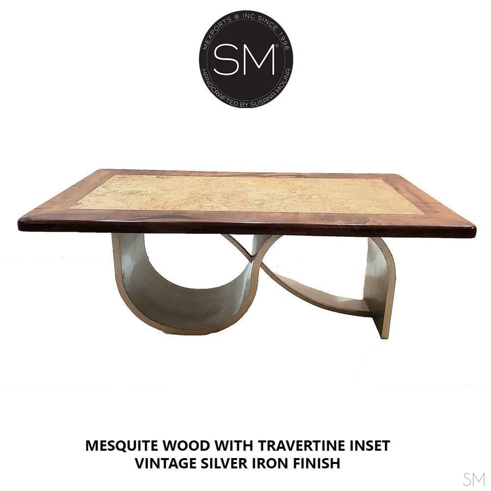 Contemporary Dining table +Mesquite Wood top = Luxury Dining room.-Desks - Conference tables-Mexports By Susana Molina -6'-Round Corners-No Inlay-Mexports® Inc by Susana Molina