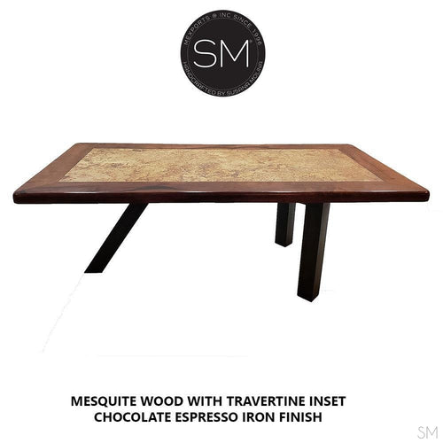 Contemporary Desk - Conference table made of Mesquite Wood with Travertine inset-Mexports By Susana Molina -Mexports® Inc by Susana Molina