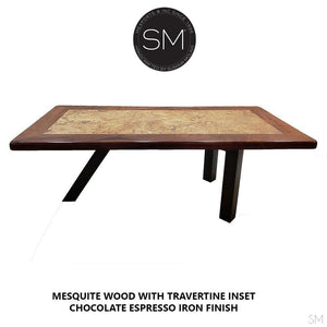 "Contemporary Desk - Conference table made of Free form Mesquite Wood-Desks - Conference tables-Mexports By Susana Molina -72"" x 42""-Round Corners-No Inlay-Mexports® Inc by Susana Molina"