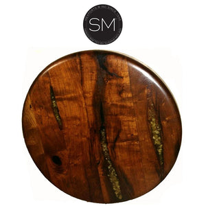 Contemporary and Modern Mesquite Wood Side & End Table-Side tables, End tables & Foyer tables-Mexports By Susana Molina-Bullnose-No Inlay-Dark Rust Brown-Mexports® Inc by Susana Molina