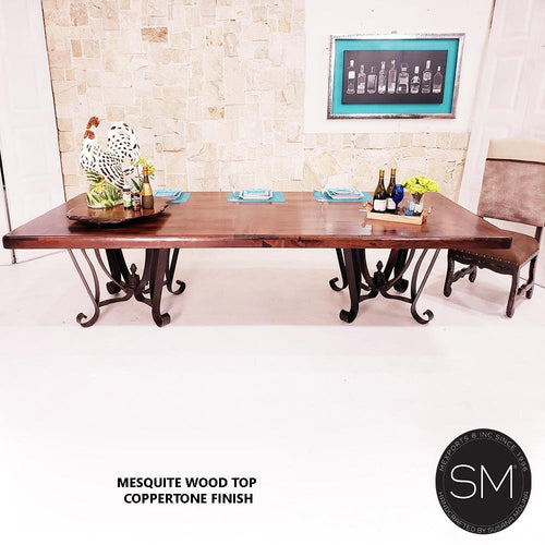 Mesquite Wood Double Pedestal Dining Table Rectangular-Mexports By Susana Molina-Mexports® Inc by Susana Molina