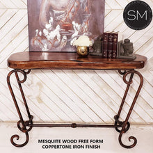 Mesquite wood Entryway table -Rustic Elegant Metal Console-Console tables- Entryway tables-Mexports By Susana Molina-Mesquite Free Form-Turquoise-Dark Rust Brown-Mexports® Inc by Susana Molina