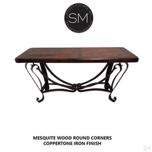 "Western Console | Mesquite Wood | Wrought Iron Base-Console tables- Entryway tables-Mexports By Susana Molina -59"" x 19"" Beveled-Dark Rust Brown-Turquoise-Mexports® Inc by Susana Molina"