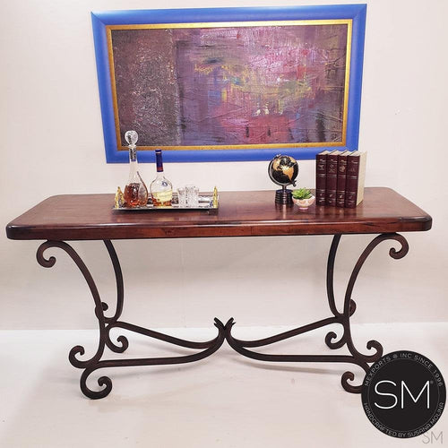 Westwern Chic Large Console | Mesquite Wood, Wrought Iron Base-Mexports By Susana Molina -Mexports® Inc by Susana Molina