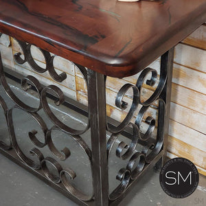 Entryway Console Table Mesquite Wood Forged Iron base-Mexports By Susana Molina -Mexports® Inc by Susana Molina