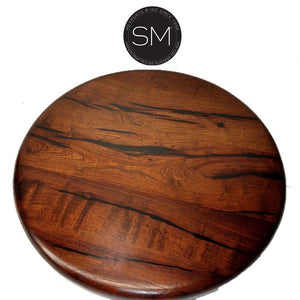 "Western Chic Occasional Table | Large | Mesquite Wood, Wrought Iron Base-Ocasional tables, side tables & foyer tables-Mexports By Susana Molina-31""Rd-Bullnose-Dark Rust Brown-Mexports® Inc by Susana Molina"