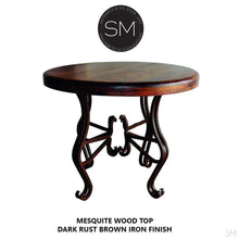 "Old Western Occasional Table , Mesquite Wood, Wrought Iron Base-Ocasional tables, side tables & foyer tables-Mexports By Susana Molina -31""Rd-Bullnose-Dark Rust Brown-Mexports® Inc by Susana Molina"