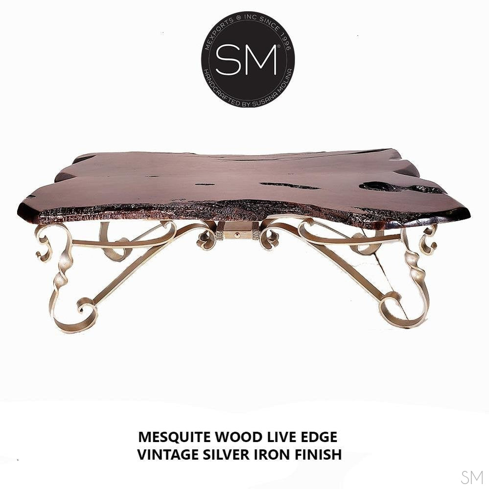 Live edge mesquite upscale living room coffee table with eclectic metal base-LIVING ROOM TABLES-Mexports By Susana Molina -Turquoise-Free Form-Dark Rust Brown-Mexports® Inc by Susana Molina