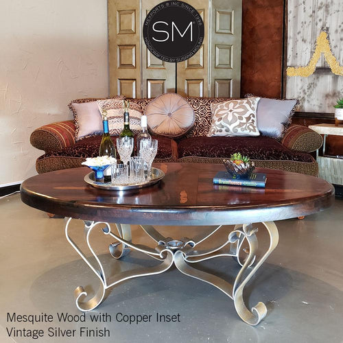 Ranch Luxury Solid Mesquite Wood Oval Coffee Table-RUSTIC OVAL COFFEE TABLE-Mexports By Susana Molina-Bullnose-Turquoise-Dark Rust Brown-Mexports® Inc by Susana Molina