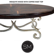 Upscale Western Mesquite Wood Oval Coffee Table made Wrought iron-RUSTIC OVAL COFFEE TABLE-Mexports By Susana Molina-Turquoise-Dark Rust Brown-Mexports® Inc by Susana Molina