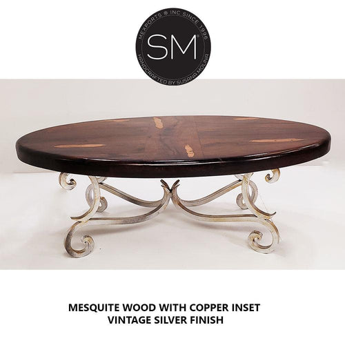 Mesquite Wood Oval Coffee Table Model 1215 AA - Mexports® Inc by Susana Molina