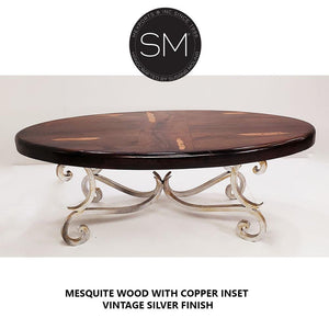 Upscale Western Mesquite Oval Table Made Wrought Iron-Mexports By Susana Molina-Mexports® Inc by Susana Molina